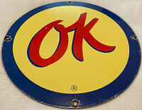 VINTAGE OK USED CARS PORCELAIN CHEVROLET DEALERSHIP SIGN, FORD, PLYMOUTH GAS OIL