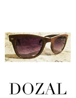 Folding Pocket Sunglasses Woodgrain Compact Fold Up Brown Bacardi Glasses NEW