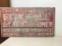 Fantastic Antique Painted Wood Real Estate For Sale Sign Ansonia CT Bartholomew