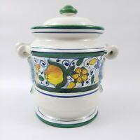 Leona Ceramic Pottery Italy Canister Lion Head Scroll Handles Yellow Flowers