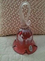 Fenton Mary Gregory Cranberry Glass Swan Bell L.E. 1018/2350