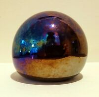 Vintage RARE Oil Slick Art Glass PAPERWEIGHT Iridescent Round Signed WELCH 3