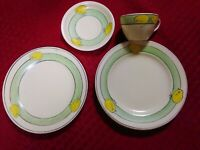 Roseville Pottery Juvenile two plates, one cup and saucer, child size