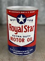 Royal Star Extra Duty Quart Motor Oil Can Metal Vintage Guilford Connecticut