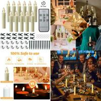 Mixaly 12 Pcs Flameless Window Candles - Ivory Battery Operated Led Taper Candle
