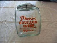 Vintage Phenix Bouillon Cubes General Store Counter Display Glass Jar Canister W