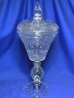 Pairpoint Glass Controlled Bubble pattern tall urn candy dish with lid