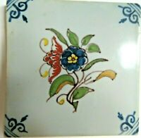 Hand painted delft tiles flowers tulips bowl of fruit set 4 multicolor Holland