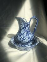 Vintage Victoria Ware Iron Stone Pitcher and Basin Set Calico Blue 6