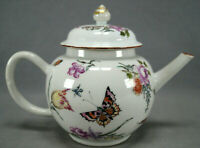 Chinese Export James Giles Hand Painted Floral & Butterflies Teapot C. 1750-1760