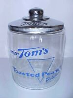 Vintage Tom's Peanut Blue Jar w/ Chrome Metal Lid, Lance Store Gordon's