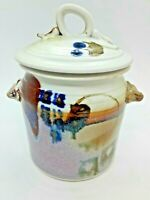 ELEGANT HAND THROWN STONEWARE POTTERY KITCHEN CANISTER W/LID SIGNED BY ARTIST