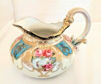 Antique Nippon Heavy Gold Hand-painted Moriage Rose Pitcher Excellent Con. Maple