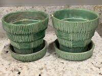 Vintage McCoy USA Green Planter With Undertray