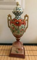 VINTAGE NIPPON PORCELAIN COVERED URN VASE TWO HANDLED WITH POPPIES / GOLD 14''