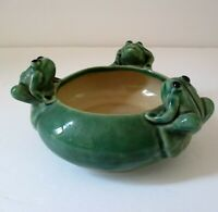 Vintage Figural Frog Planter Pottery Bowl Dish 3 Frogs Green Majolica? P209SF