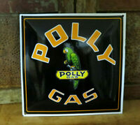 POLLY GAS & Oil PORCELAIN Enamel PUMP PLATE ADVERTISING GAS STATION SIGN