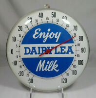 Old Vintage Dairylea Milk Bubble Glass Advertising Thermometer Milk Dairy Sign