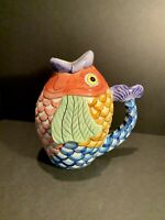 Tabletops Unlimited Pescada Fish Pitcher / Vase Hand Painted