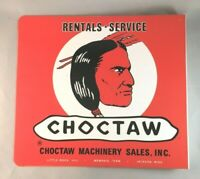 Vintage CHOCTAW MACHINERY SALES RENTALS SERVICE FLANGE SIGN Rare Old Advertising