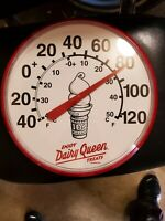 VINTAGE DAIRY QUEEN ICE CREAM Round Advertising Thermometer Sign Gas Station