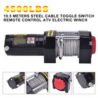 4500LB ATV UTV Electric Remote 12V Winch Waterproof Boat Steel Cable Kit offroad