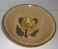 LARGE POTTERY BOWL WITH STYLIZED SUNFLOWER INSIDE SIGNED. OHIO? NCP?