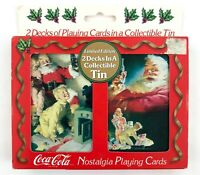 Vintage Coca Cola Playing Cards 2 Decks Collectable Tin 1996 Limited Edition New