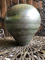 RAKU VASE ARTIST SIGNED LARGE POTTERY VASE. Created with a low firing process.