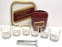 Vintage Johnnie Walker Red Label Whiskey Set Tray Ice Bucket 6 Glasses Tongs
