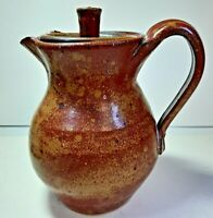 VTG North Carolina Pottery Small Pitcher w Lid Small Side Mark