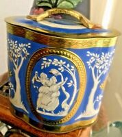 Vintage Murray Allen TIN BOX Canister England Regal Crown Petrol Blue amp; Gold