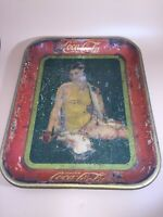 ORIGINAL Vintage Antique 1929 COCA COLA #x27;Girl in Swimsuit#x27; Metal Serving Tray