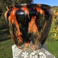 """Large Rare Antique Majolica Brown Onyx Brush McCoy Pottery Jardiniere 11""""w #240"""