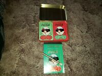 COCA COLA Gibson Girl Holiday Sealed Playing Card 2 Decks Tin PAD AND PENCIL