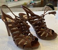 PRADA LUGGAGE BROWN LEATHER CAGE LACE FRONT TASSEL TIE SLINGBACK SHOES Sz 37.5