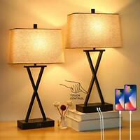 Set of 2 Touch Control 3 Way Dimmable Table Lamp Modern Nightstand w 2 USB Port $112.64