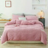 3 Pcs Coral Duvet Cover Set Fluffy Bed Covers Solid Color Quilt Cover Sets