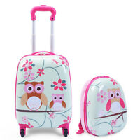 2PCS Kids Luggage Set Suitcase Backpack School Travel Trolley ABS 12quot;16quot;