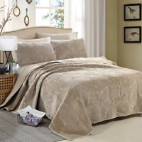 3 Pieces Velvet Cotton Quilt Bedspread Sets Ultra Soft Warm Oversized Bed Covers