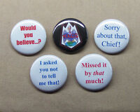 Get Smart 5 Button Set 1.25quot; Sorry About That KAOS Would You Believe Missed $8.00