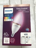 Philips Smart Wi Fi 40W LED Tunable Candle Bulb Full Color Dimmable Open Box $22.50