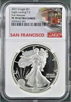 2021 S PROOF $1 SILVER EAGLE TYPE 2 NGC PF70UC FIRST RELEASES TROLLEY LABEL