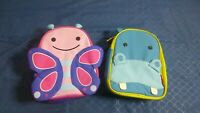 Skip Hop Zoo Insulated Zipper Around Lunch Bag Pair Butterfly and Hippo
