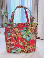 NEW Vera Bradley Hadley Tote Quilted Cotton SATCHEL RUMBA RED large bag