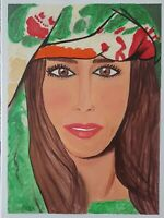 Persian Girl 100% Hand Paiting Acrylic On Canvas Size 12x16 in By Amee $60.00