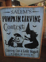 SALEM'S PUMPKIN CARVING CONTEST  wood sign Halloween