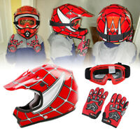 Youth Red Spider Net Dirt Bike Motocross ATV MX Helmet w/Goggles+Gloves S M L XL