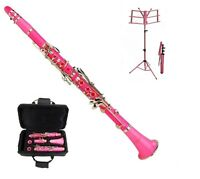 New Bb Pink Clarinet with Zippered Hard Case+Pink Music Stand & 11 REEDS