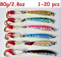 1-20 pcs Knife Jigs 2.8oz / 80g Vertical Speed Butterfly Saltwater Fishing Lures